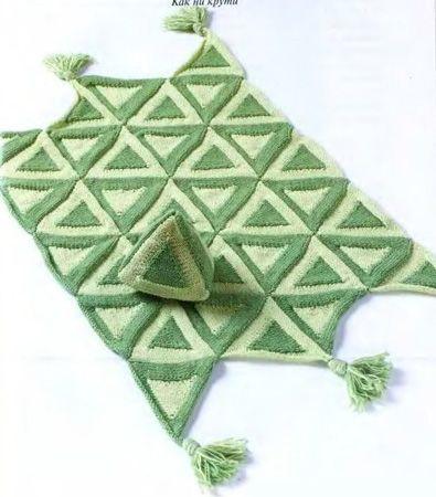Вязанный Коврик Треугольниками