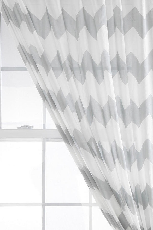 Chevron curtains gray and white home