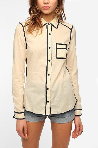 Pretty Penny Muse Piped Button-Down Shirt  Online Only  $89.00