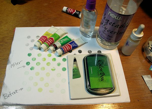 How to make ink {and revive an old ink pad}: Mix guash colors with glycerin, plus rubbing alcohol to stop mold from forming on ink pad | Video Tutorial: How to make pigment ink ~ By The Frugal Crafter on Wordpress