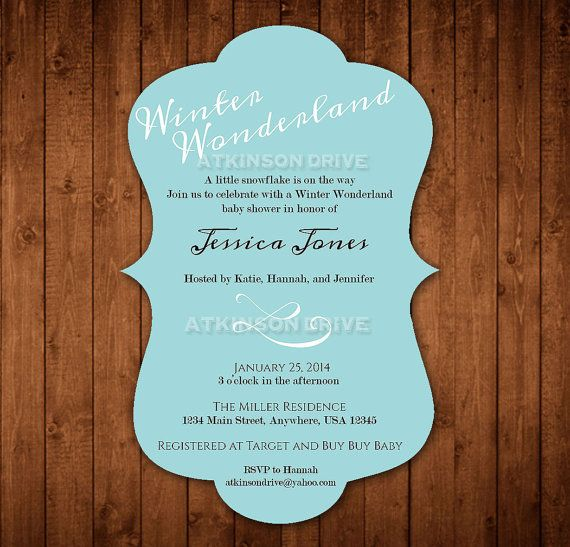 printable winter wonderland baby shower invitation