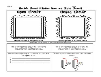 Electric circuit foldable open closed series and parallel circuits