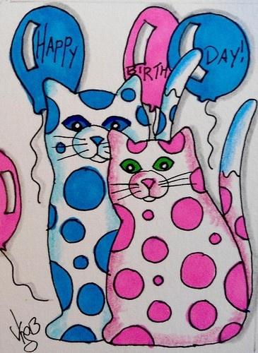 "Aceo Original "" POLKA DOT BIRTHDAY KITTIES"" pencil/ink ON EBAY"