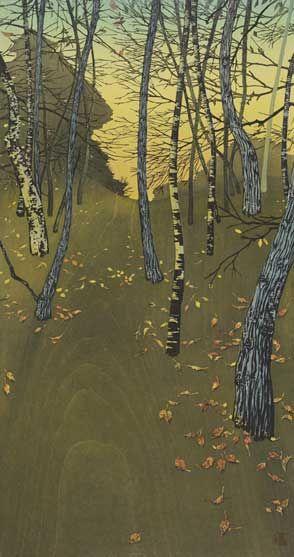 K Nakajima Woodblock Prints Autumn woodblock print  Tsuzen