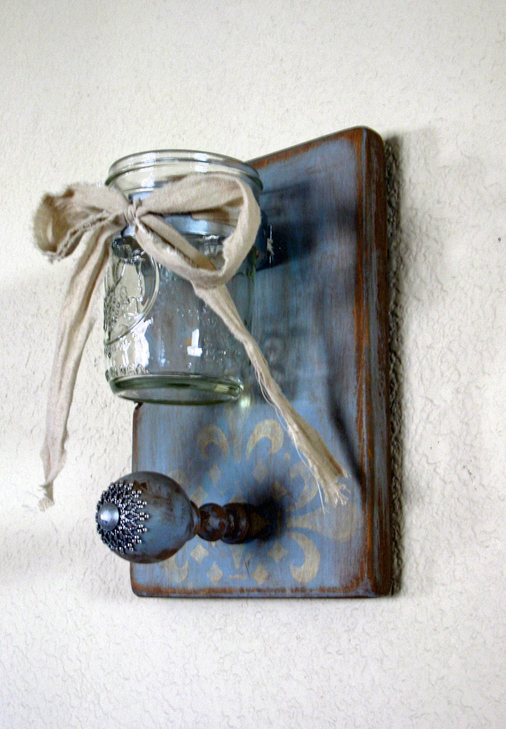 Single Mason Jar  Wall Vase-Shabby Elegance Collection Vintage Blue Mason Jar and Peg Wall Decor, via Etsy
