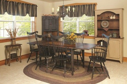 Primitive Dining Table Chairs Set Farmhouse Furniture Harvest Country Kitchen