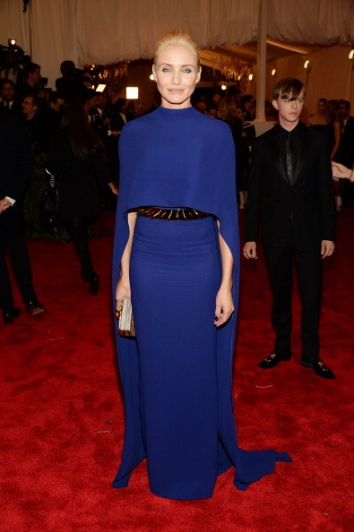 Cameron Diaz in a beautiful royal blue Stella McCartney dress and spiky belt at the Met Gala 2013
