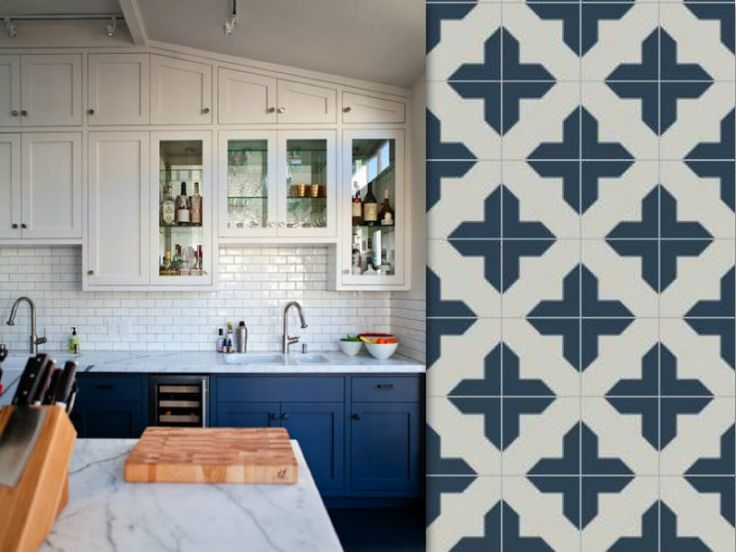 Grey blue white kitchens pinterest for Blue and white cement tile