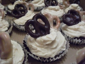 Chocolate Guinness Cupcakes with Hand-Dipped Chocolate Pretzels