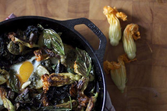 Squash Blossom Pesto Potato Skillet | Delicious | Pinterest