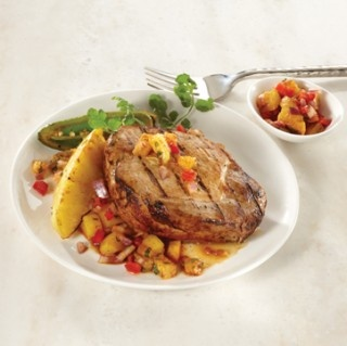 Beer-brined pork chops with grilled pineapple salsa