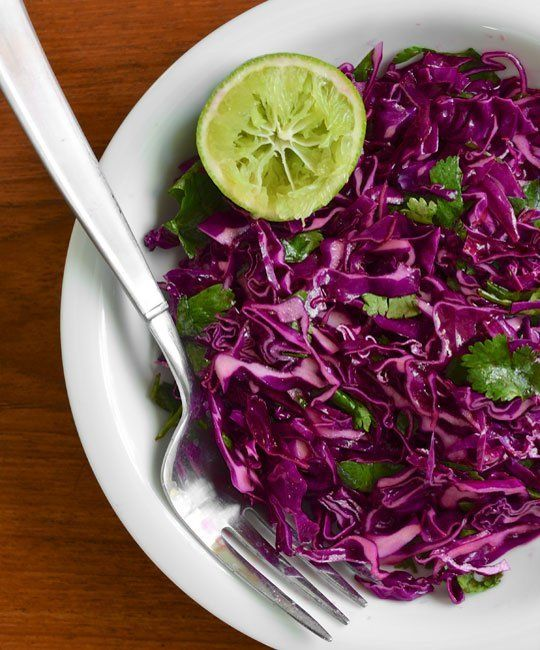 Tacos with Roasted Winter Vegetables and Red Cabbage Slaw | Recipe