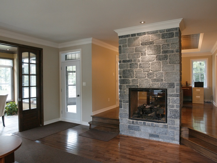 Stone fireplace between two rooms rooms and decor i - Fireplace between two rooms ...