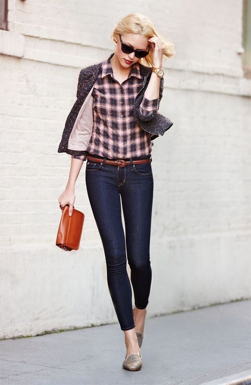 Sleepers jeans with shirt stylish cardigan and purse