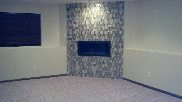 Fireplace With Glass Tile Surround Fireplace Pinterest