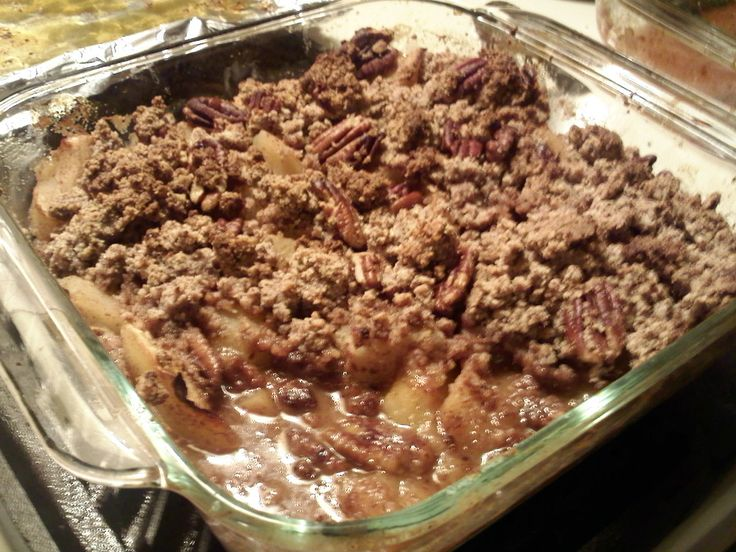 apple crisp. Used some crushed walnuts in place of half the almond ...