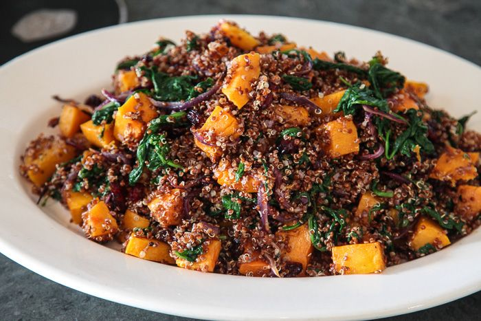 Red Quinoa with Roasted Butternut Squash, Spinach, and Red Onions