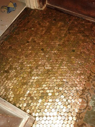 Diy penny floor details for the home pinterest for Floor of pennies