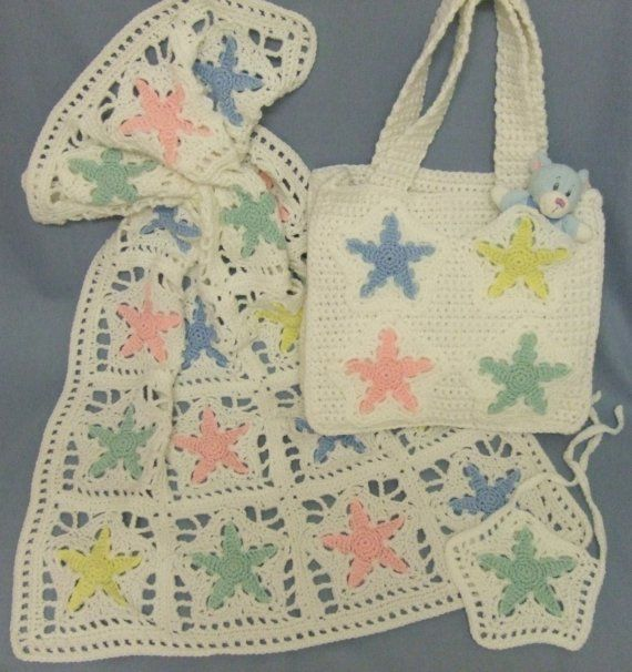 Crochet Dice Bag Pattern : Crochet Pattern Star Baby Blanket and Diaper Bag