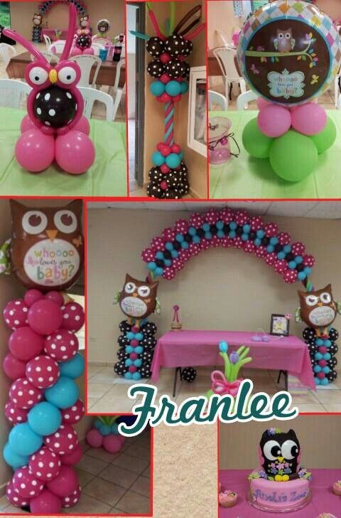Owl baby shower balloon columns columnas globos pinterest for Baby shower owl decoration ideas