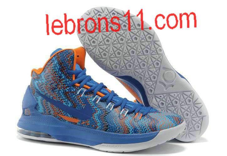 KD 5 Girls Hyper Blue White Orange Basketball Shoes for Womens