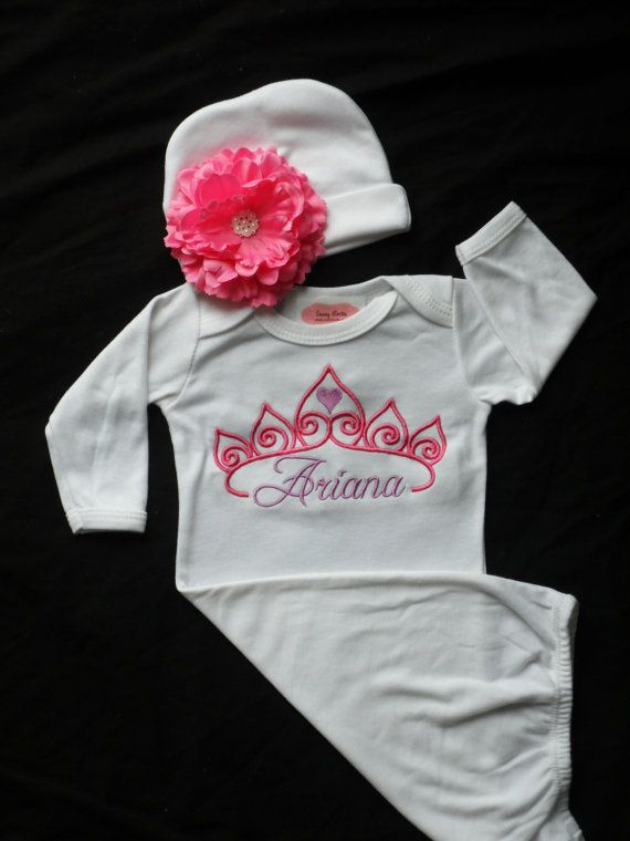 Personalized Baby Girl Clothes Layette Gown Princess Crown