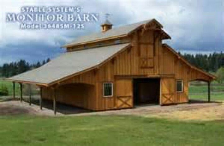 Monitor barn with lean to 39 s barn pinterest for Monitor barn