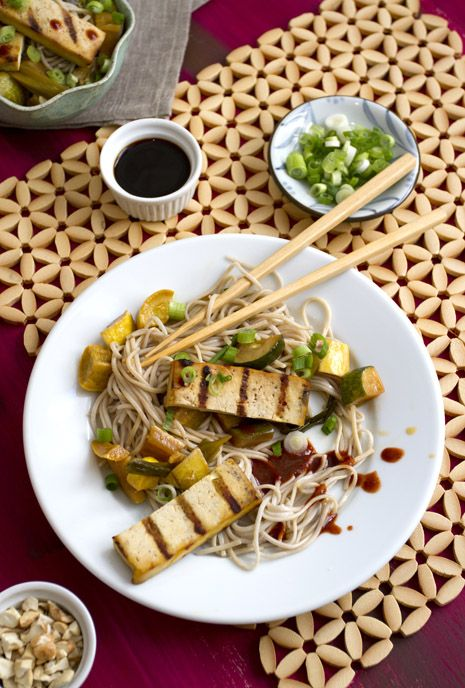 Grilled Tofu with Summer Squash and soba noodles recipe beautiful ...