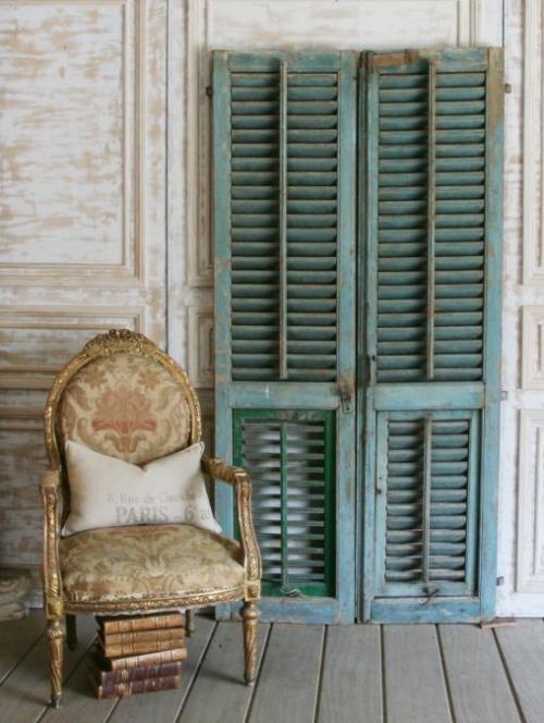 aqua blue antique shutters