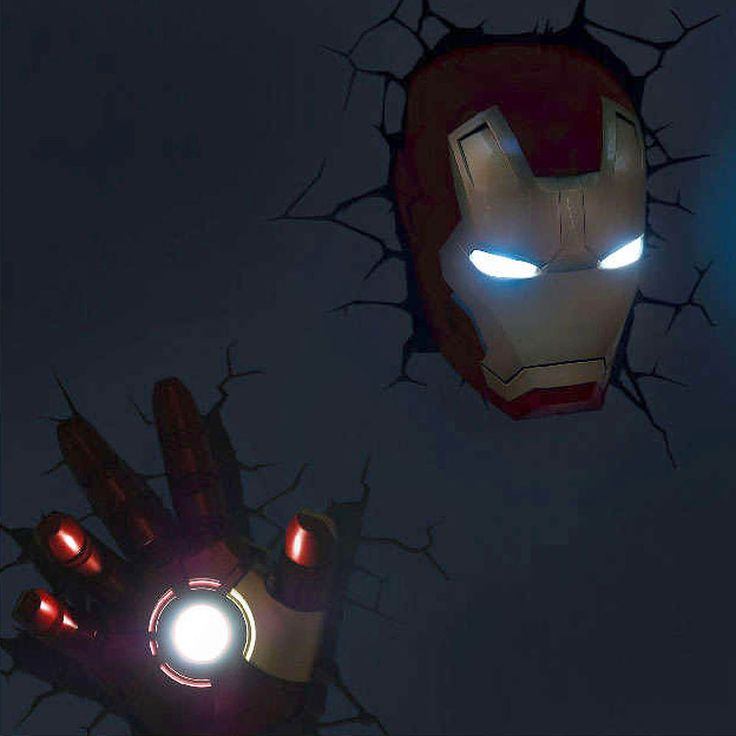 Marvel Avengers Iron man Mask Helmet + Hand 3D FX Deco Wall LED Night?