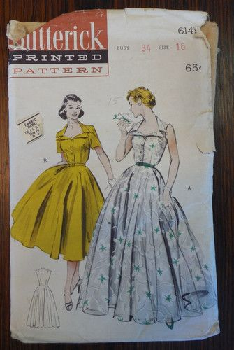 VTG1950S Butterick Pattern 6149 Sz 16 Bust 34 Long or Day Length 1 Piece Dress | eBay