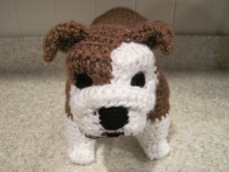 Bulldog Stuffed Animal Crochet Pattern - Digital Download