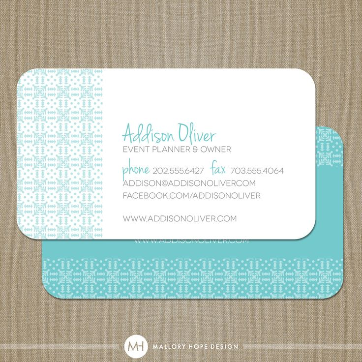 Event Planner Or Interior Designer Business Card Calling Card Mommy Card Customize Colors
