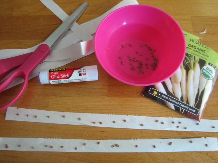 DIY seed tape - newspaper strips, glue stick, seeds - easy peasy