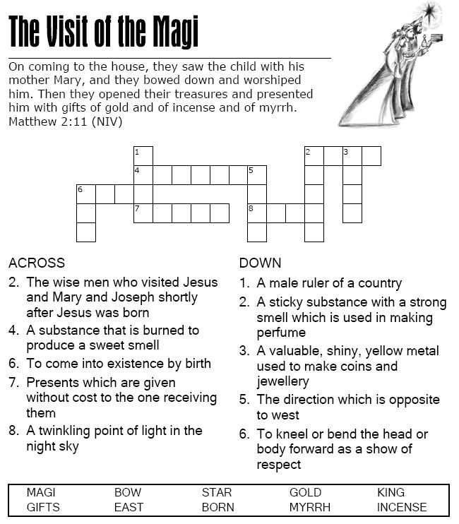 The Visit Of The Magi Crossword Puzzle Ccd Pinterest Sunday School School Lessons And