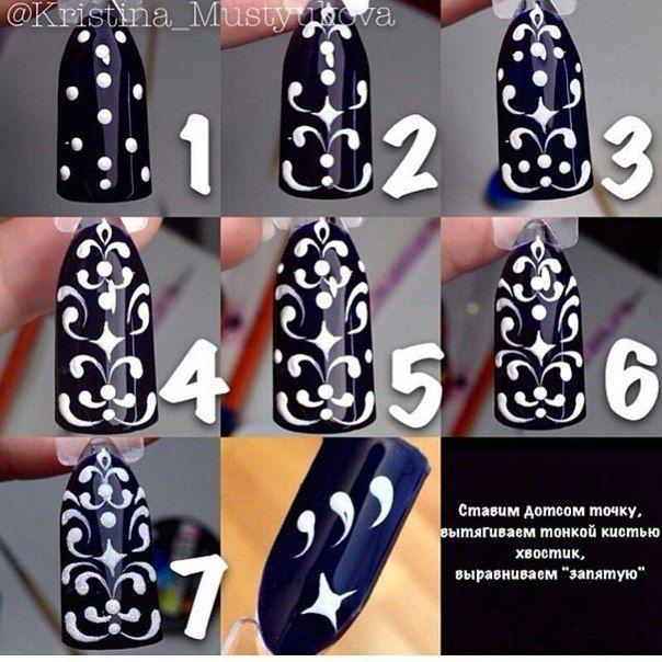 Рисунок дотсом на ногтях пошаговое фото для начинающих