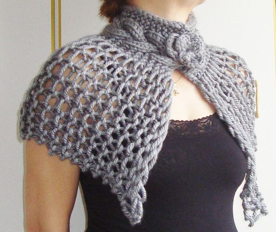 Hand Knitted silver grey capelet Shawl with crochet by earflaphats, $38.00