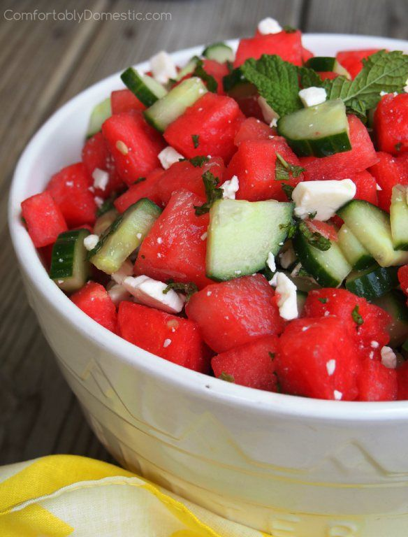 Watermelon Cucumber Salad with Feta, Lime, and Mint ...