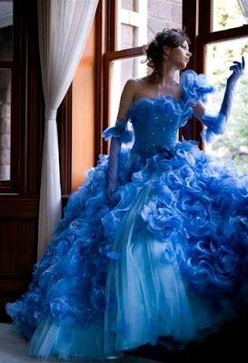 Fantastic choice of blue bridal wedding gown