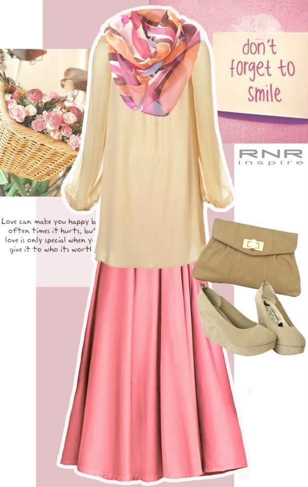 dusty pink maxi skirt muslimah style