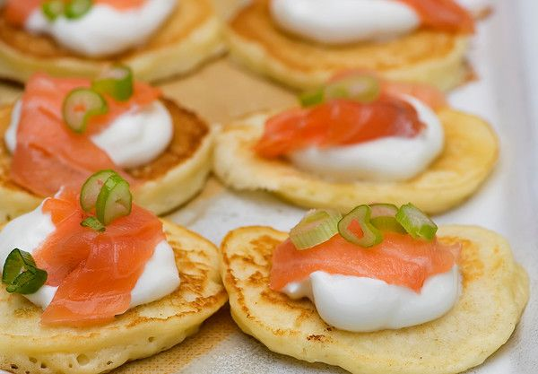 Smoked Salmon Silver Dollar Pancakes | food | Pinterest