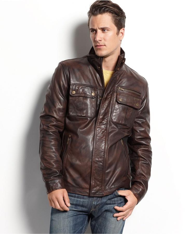 Guess Coat, Medium-Weight Leather Jacket - Mens Coats & Jackets - Macy