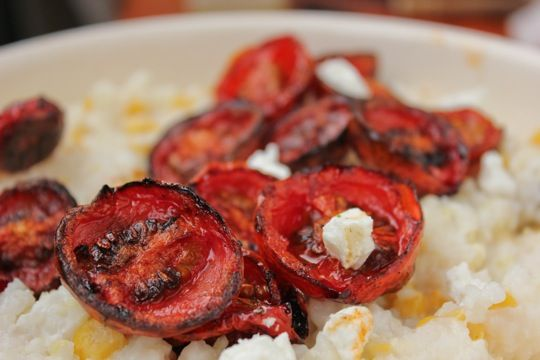 Creamy Grits with Corn, Goat Cheese, & Roasted Tomatoes | Recipe