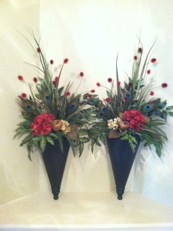 Pair of extra large wall sconces wall pockets floral for Picture arrangements for large walls