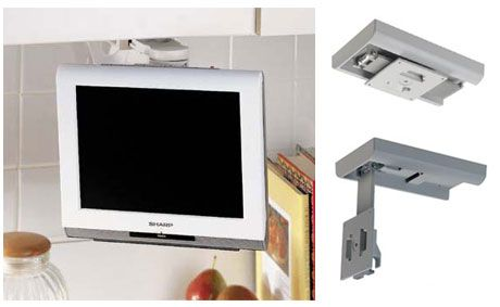 Pin by wall mountsplus on under cabinet tv mount pinterest for Small wall mounted tv for kitchen