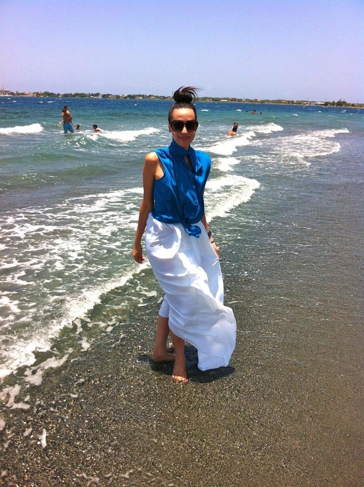 BCBG white maxi skirt on the beach
