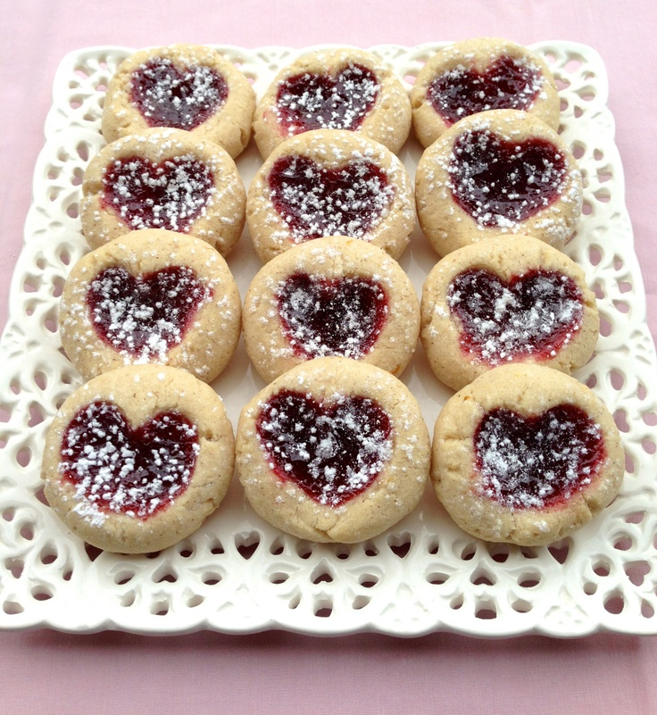 Linzer Heart Thumbprint Cookies | Baking With Love | Pinterest