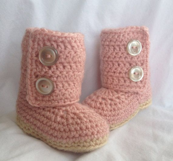 Baby Girl Crochet Ugg Baby Boots Pink by cmiron on Etsy, $20.00