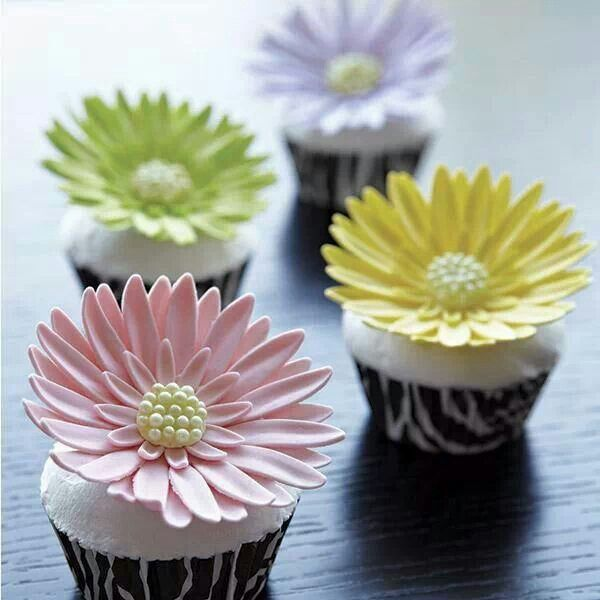 Cake Decorating How To Make Daisies : Wilton Gerber Daisy flower cupcakes Cupcake ideas ...