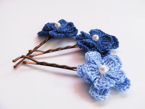 Crochet Flowers Bobby Pins, Set of 3, Crochet Hair Pins, Lace Hair Cl ...